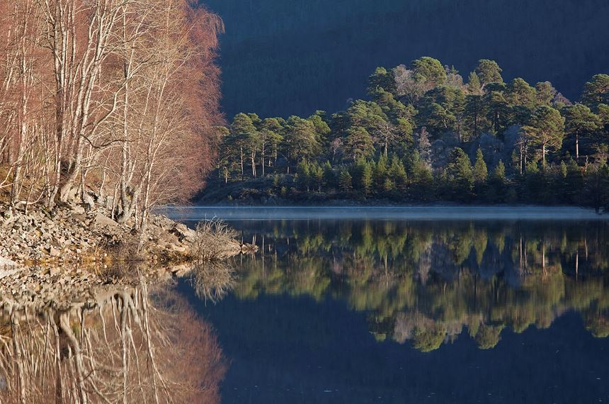 Reflections in Loch Beinn a' Mheadhoin on cold winter day, Glen Affric, Scotland. - Photo: Peter Cairns