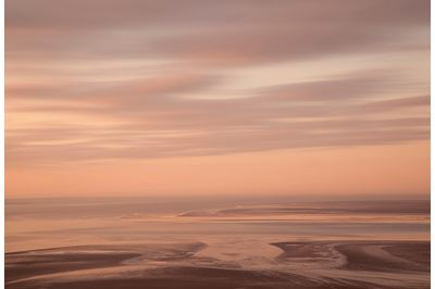 View across Morecambe Bay at dawn from Arnside, Cumbria.