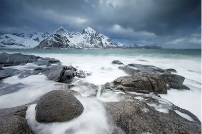 View across Vareidsundet in winter, Flakstadoya, Lofoten, Norway.
