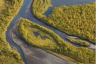 View over Laitaure delta, Sarek National Park, Laponia World Heritage Site, Sweden