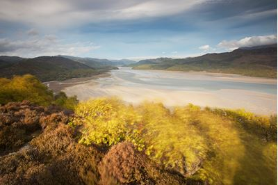 Evening light over Mawddach Estuary, Snowdonia, Wales..