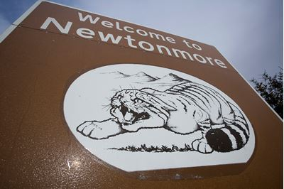 Scottish wildcat on village sign, Newtonmore, Scotland.