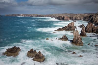 Sea stacks in stormy weather, Mangerstadh, Lewis, Scotland.