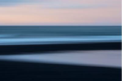 Abstract of snow, sand, sea and sky, Iceland.